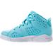 Left view of Girls' Preschool Jordan Retro 6 Basketball Shoes in Still Blue/White