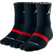 Front view of Jordan Dri-FIT 3-Pack Crew Socks in Black/Red/Matte Silver