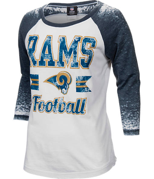 Women's New Era Los Angeles Rams NFL 3/4 Sleeve Burnout T-Shirt