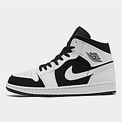 나이키 Nike Mens Air Jordan 1 Mid Retro Basketball Shoes,White/Black