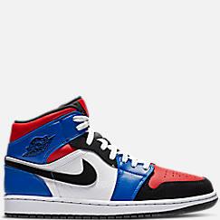 나이키 Nike Mens Air Jordan 1 Mid Retro Basketball Shoes,White/Black/Hyper Royal/University Red