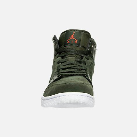 Front view of Men's Air Jordan Retro 1 Mid Retro Basketball Shoes in Sequoia/Max Orange/White