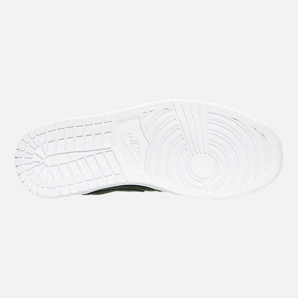 Bottom view of Men's Air Jordan Retro 1 Mid Retro Basketball Shoes in Sequoia/Max Orange/White