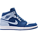 Right view of Men's Air Jordan Retro 1 Mid Retro Basketball Shoes in Team Royal/Ice Blue/White