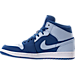 Left view of Men's Air Jordan Retro 1 Mid Retro Basketball Shoes in Team Royal/Ice Blue/White