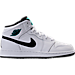 Right view of Kids' Grade School Air Jordan 1 Mid Basketball Shoes in White/Black/Hyper Jade