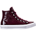 Right view of Women's Converse Chuck Taylor Hi Patent Casual Shoes in Dark Sangria