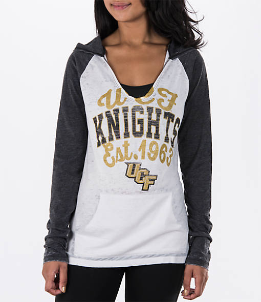 Women's New Era Central Florida Knights College Burnout Raglan Pullover Hoodie