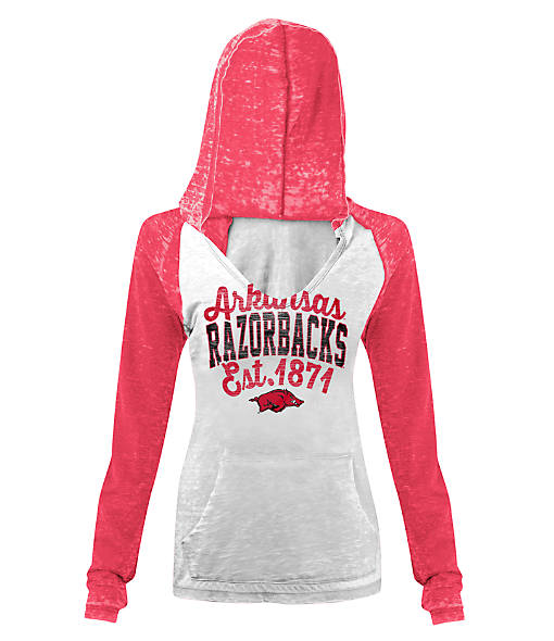 Women's New Era Arkansas Razorbacks College Burnout Raglan Pullover Hoodie