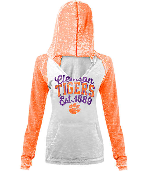 Women's New Era Clemson Tigers College Burnout Raglan Pullover Hoodie