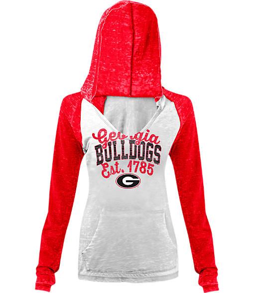 Women's New Era Georgia Bulldogs College Burnout Raglan Pullover Hoodie