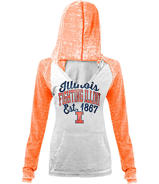 Women's New Era Illinois Fighting Illini College Burnout Raglan Pullover Hoodie