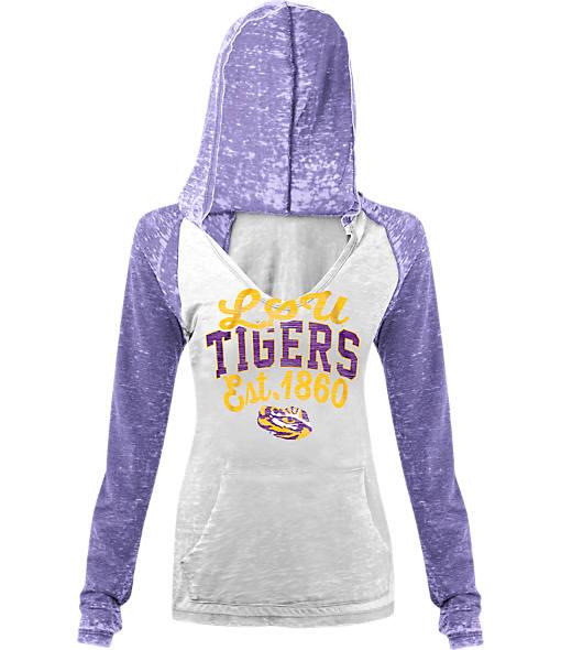 Women's New Era LSU Tigers College Burnout Raglan Pullover Hoodie