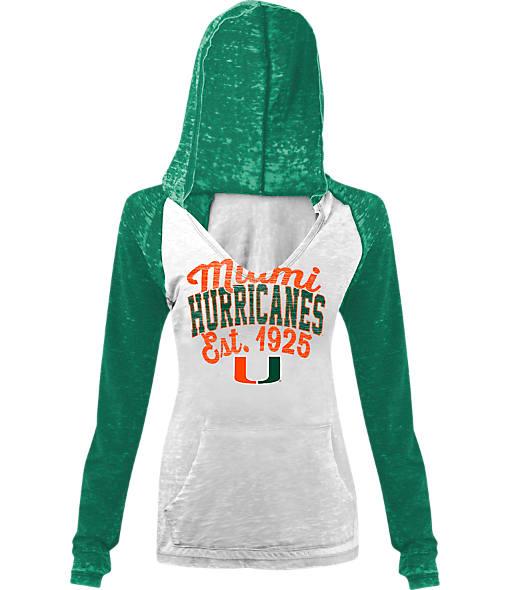 Women's New Era Miami Hurricanes College Burnout Raglan Pullover Hoodie
