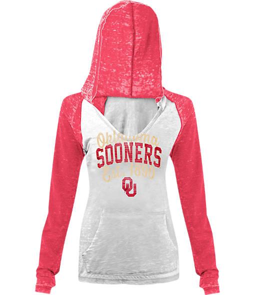Women's New Era Oklahoma Sooners College Burnout Raglan Pullover Hoodie