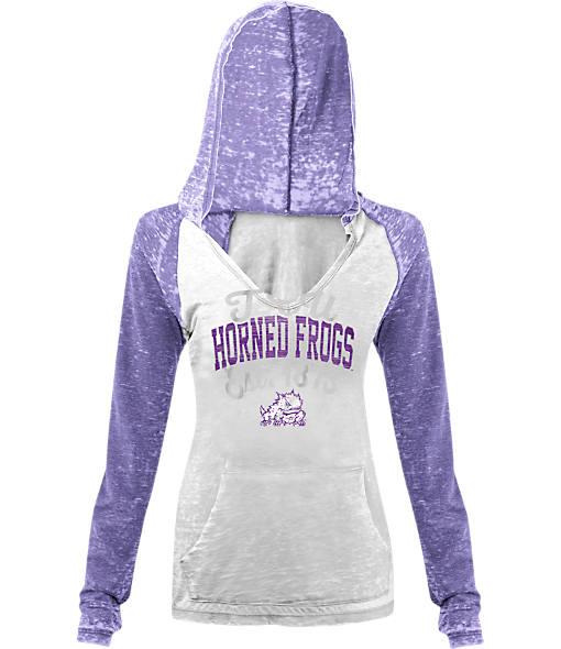 Women's New Era TCU Horned Frogs College Burnout Raglan Pullover Hoodie