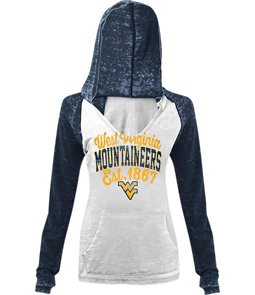 Women's New Era West Virginia Mountaineers College Burnout Raglan Pullover Hoodie