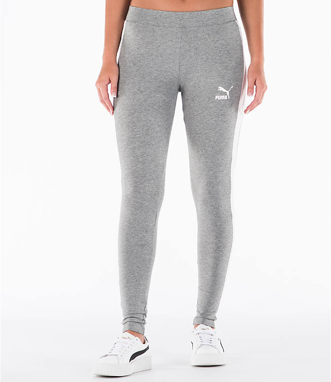 Front view of Women's Puma T7 Leggings in Grey
