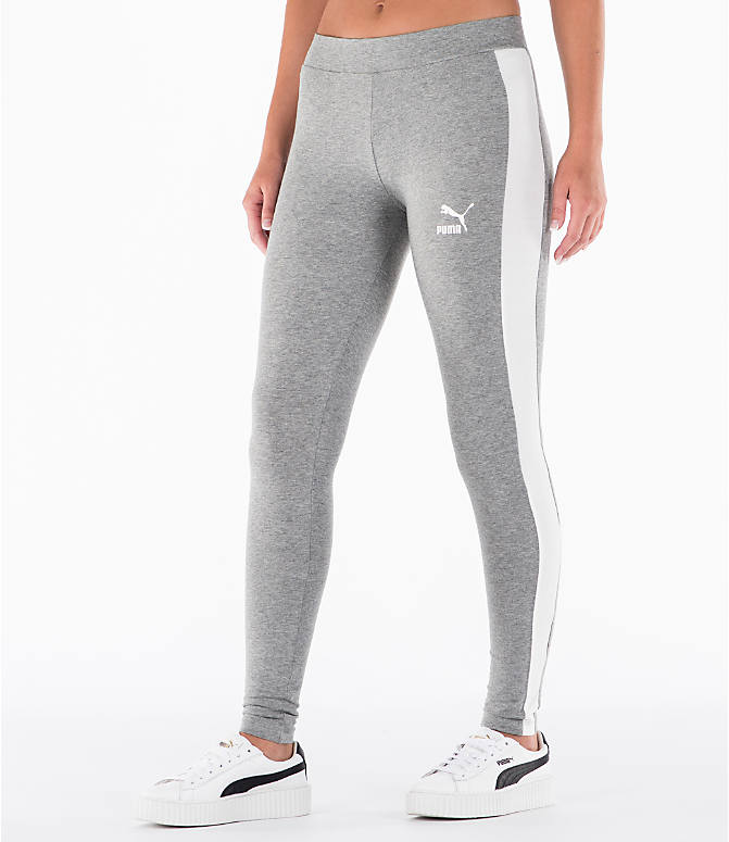 Front Three Quarter view of Women's Puma T7 Leggings in Grey