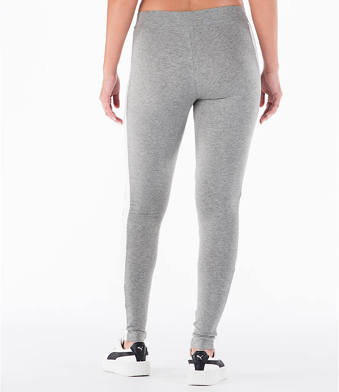 Back Left view of Women's Puma T7 Leggings in Grey
