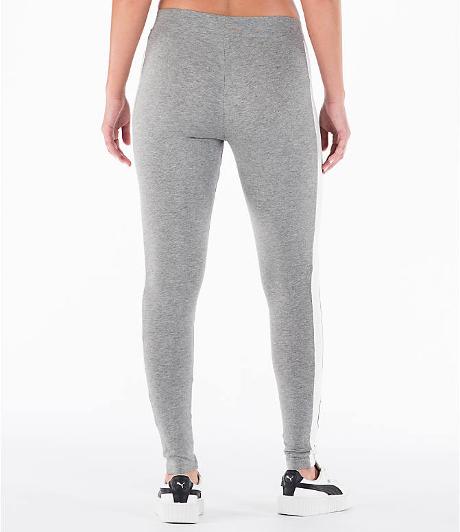 Back Right view of Women's Puma T7 Leggings in Grey