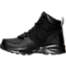 Left view of Boys' Grade School Nike Manoa Leather Textile Boots in Black/Black/Black