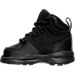 Left view of Boys' Toddler Nike Manoa Leather Textile Boots in Black/Black