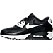 Left view of Women's Nike Air Max 90 Essential Running Shoes in Black/White/Metallic Silver