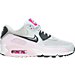 Right view of Women's Nike Air Max 90 Essential Running Shoes in White/Green Abyss/Blue