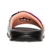 Back view of Women's Nike Benassi JDI Print Slide Sandals in Black/Sunset Glow/Fire Pink