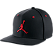 Front view of Jordan Jumpman Snapback Hat in Black/Gym Red