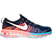 Right view of Men's Nike Flyknit Air Max Running Shoes in Black/White/Blue Glow