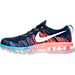Left view of Men's Nike Flyknit Air Max Running Shoes in Black/White/Blue Glow