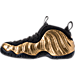 Left view of Men's Nike Air Foamposite Pro Basketball Shoes in Metallic Gold/Black/White