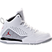 Right view of Boys' Preschool Jordan Flight SC-3 Basketball Shoes in White/Dark Grey/Cement Grey