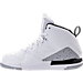 Left view of Boys' Preschool Jordan Flight SC-3 Basketball Shoes in White/Dark Grey/Cement Grey