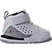 Right view of Boys' Toddler Jordan Flight SC-3 Basketball Shoes in White/Dark Grey/Cement Grey