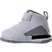Left view of Boys' Toddler Jordan Flight SC-3 Basketball Shoes in White/Dark Grey/Cement Grey