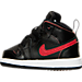 Left view of Boys' Toddler Jordan Retro 1 Mid Basketball Shoes in 039