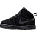 Left view of Boys' Toddler Jordan Retro 1 Mid Basketball Shoes in Black/White/Black