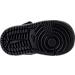 Bottom view of Boys' Toddler Jordan Retro 1 Mid Basketball Shoes in Black/White/Black