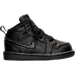 Right view of Boys' Toddler Jordan Retro 1 Mid Basketball Shoes in Black/White