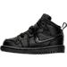 Left view of Boys' Toddler Jordan Retro 1 Mid Basketball Shoes in Black/White