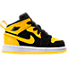 Right view of Boys' Toddler Air Jordan 1 Mid Casual Shoes in Black/Varsity Maize/White