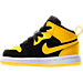 Left view of Girls' Toddler Air Jordan 1 Mid Casual Shoes in Black/Varsity Maize/White