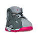 Three Quarter view of Girls' Toddler Jordan True Flight Basketball Shoes in Cool Grey/Vivid Pink