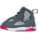 Left view of Girls' Toddler Jordan True Flight Basketball Shoes in Cool Grey/Vivid Pink