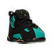 Three Quarter view of Girls' Toddler Jordan True Flight Basketball Shoes in Black/Metallic Gold/Rio Teal