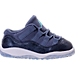 Right view of Girls' Toddler Jordan Retro 11 Basketball Shoes in Blue Moon/Pure Platinum