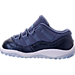 Left view of Girls' Toddler Jordan Retro 11 Basketball Shoes in Blue Moon/Pure Platinum